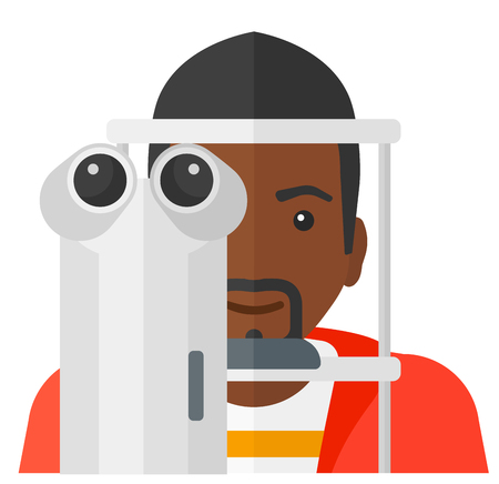 An african-american male patient during eye exam vector flat design illustration isolated on white background.