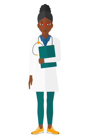 girl stethoscope: An african-american happy doctor with stethoscope and a file vector flat design illustration isolated on white background.