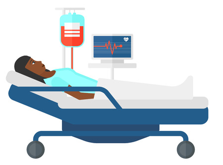 lying in bed: An african-american patient lying in hospital bed with heart rate monitor while blood transfusion is running vector flat design illustration isolated on white background. Illustration