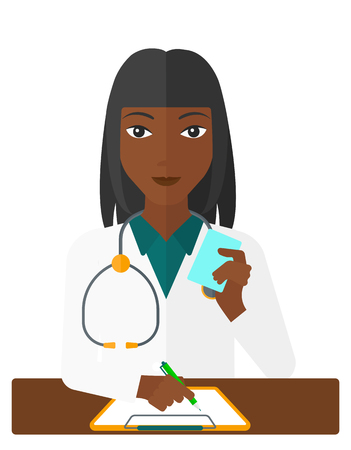 holding notes: An african-american pharmacist taking notes and holding a prescription in a hand vector flat design illustration isolated on white background.