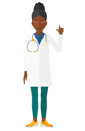 medics: An african-american happy doctor in medical gown showing finger up vector flat design illustration isolated on white background.