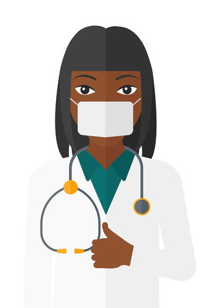 protective gown: An african-american doctor in mask with stethoscope showing thumb up vector flat design illustration isolated on white background. Illustration