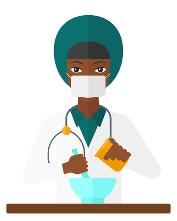 An african-american pharmacist preparing medicine vector flat design illustration isolated on white background.