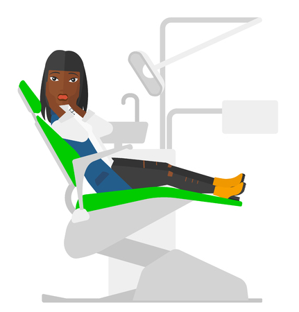 panicky: An african-american frightened patient sitting in dental chair vector flat design illustration isolated on white background.