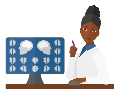 looking at computer screen: An african-american doctor looking at results of MRI scan on a computer screen vector flat design illustration isolated on white background.