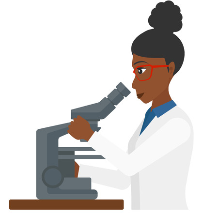 science scientific: An african-american laboratory assistant looking through a microscope vector flat design illustration isolated on white background. Illustration