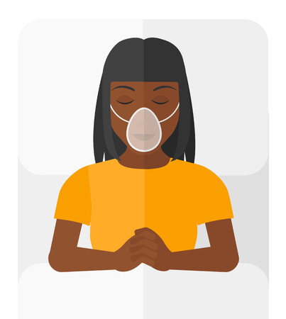 recovering: An african-american patient lying in hospital bed with oxygen mask vector flat design illustration isolated on white background.