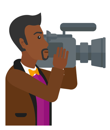 cameraman: An african-american cameraman with video camera taking a video vector flat design illustration isolated on white background.