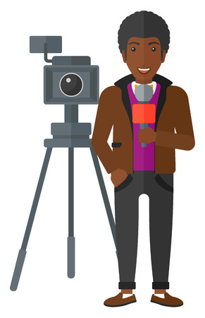 filming: A camera filming and an african-american reporter standing with a microphone vector flat design illustration isolated on white background. Illustration