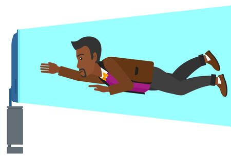 flat screen tv: An african-american man flying in front of TV screen vector flat design illustration isolated on white background.
