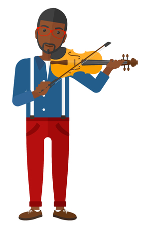 fiddlestick: An african-american man playing violin vector flat design illustration isolated on white background.