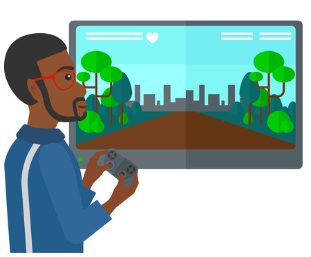 users video: An african-american man playing video game with gamepad in hands vector flat design illustration isolated on white background. Illustration