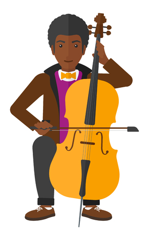 fiddlestick: An african-american man playing cello vector flat design illustration isolated on white background.