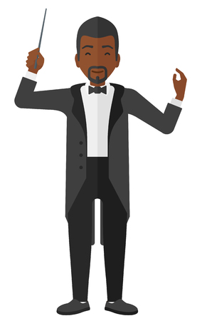 An african-american orchestra conductor directing with his baton vector flat design illustration isolated on white background.