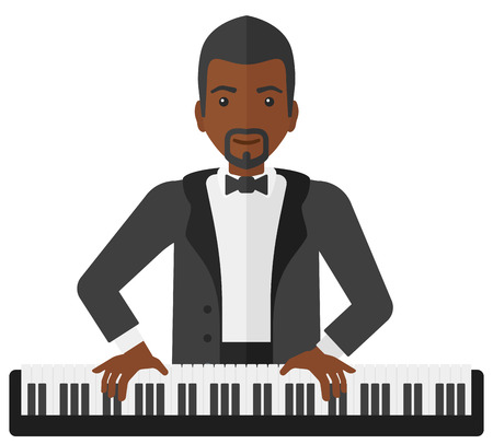 pianoforte: An african-american musician playing piano vector flat design illustration isolated on white background.