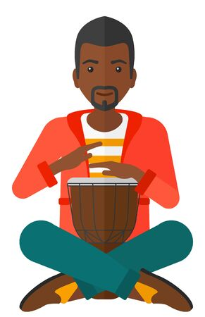 An african-american man playing tomtom vector flat design illustration isolated on white background. Illustration