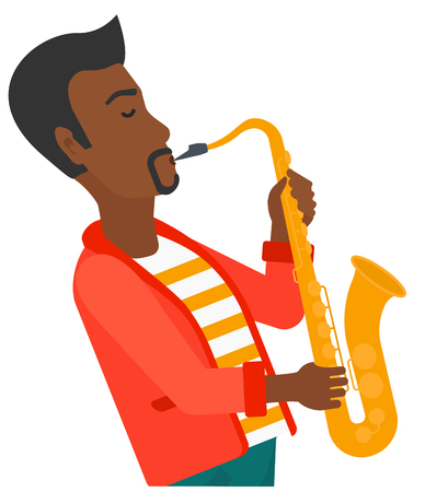 melodic: An african-american musician playing saxophone vector flat design illustration isolated on white background. Illustration