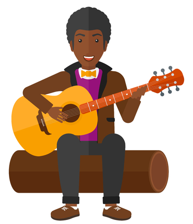 An african-american man sitting on a log and playing a guitar vector flat design illustration isolated on white background.