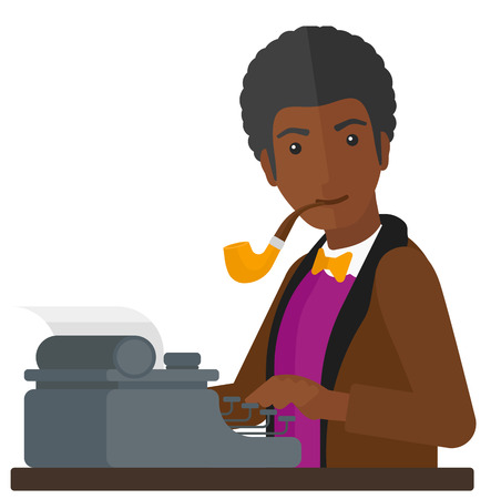An african-american reporter writing an article on his typewriter vector flat design illustration isolated on white background.