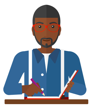 An african-american reporter writing an article in his writing-pad vector flat design illustration isolated on white background.