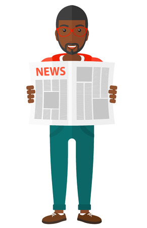 gazette: A happy african-american reporter reading the newspaper with his article vector flat design illustration isolated on white background.