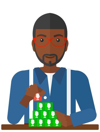 black men: An african-american man making pyramide of avatars vector flat design illustration isolated on white background.