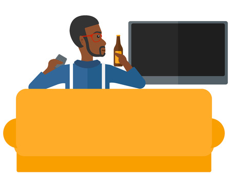 An african-american man sitting on the couch and watching tv with remote controller and a bottle in hands vector flat design illustration isolated on white background. Illustration