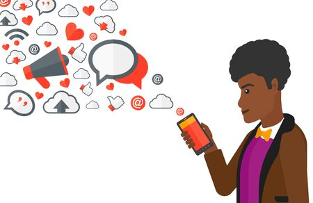 communication cartoon: An african-american man using smartphone with lots of social media application icons flying out vector flat design illustration isolated on white background. Illustration