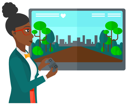 users video: An african-american woman playing video game with gamepad in hands vector flat design illustration isolated on white background. Illustration