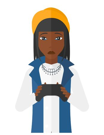 users video: An african-american woman with gamepad in hands vector flat design illustration isolated on white background.