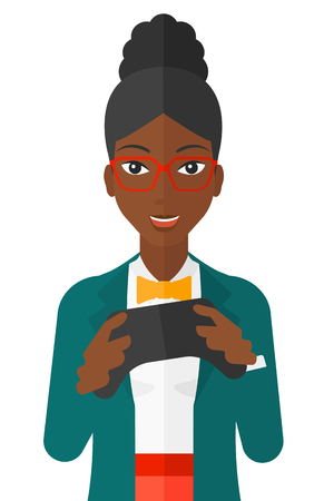 An enthusiastic african-american woman with gamepad in hands vector flat design illustration isolated on white background. Vettoriali