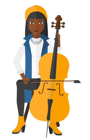 fiddlestick: An african-american woman playing cello vector flat design illustration isolated on white background.
