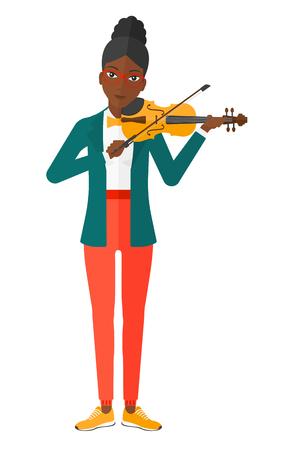 fiddlestick: An african-american woman  playing violin vector flat design illustration isolated on white background.