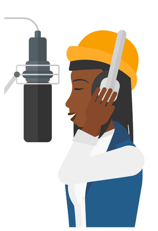 An african-american singer in headphones in studio making a record of her voice in microphone vector flat design illustration isolated on white background.