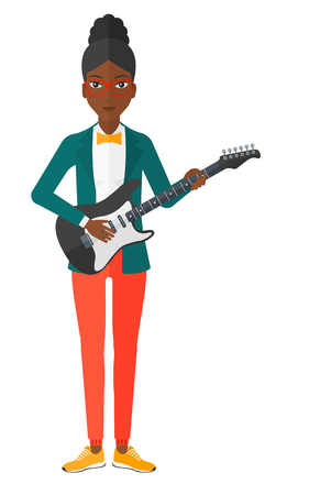 strum: An african-american smiling musician playing electric guitar vector flat design illustration isolated on white background.