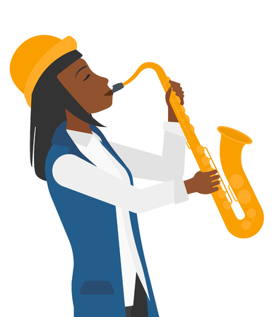improvisation: An african-american musician playing saxophone vector flat design illustration isolated on white background. Illustration