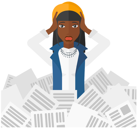 overloaded: An african-american stressed woman clutching her head because of having a lot of work to do with a heap of newspapers in front of her vector flat design illustration isolated on white background.