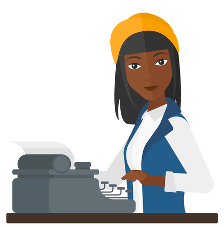An african-american reporter writing an article on her typewriter vector flat design illustration isolated on white background.
