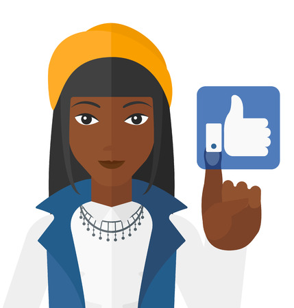 like button: An african-american woman pressing like button vector flat design illustration isolated on white background.