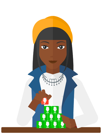 An african-american woman making pyramide of avatars vector flat design illustration isolated on white background. Vectores