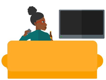 woman watching tv: An african-american woman sitting on the couch and watching tv with remote controller and a bottle in hands vector flat design illustration isolated on white background. Illustration