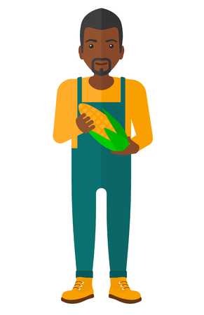 An african-american agriculturist holding a corn cob vector flat design illustration isolated on white background.