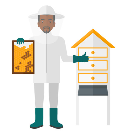 An african-american beekeeper in protective suit working at apiary holding a framework in hand and showing thumb up vector flat design illustration isolated on white background.