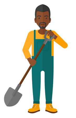 An african-american farmer digging with a spade vector flat design illustration isolated on white background. Stock Illustratie