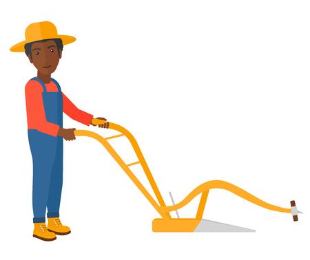 cartoon land: An african-american farmer using a plough vector flat design illustration isolated on white background. Illustration