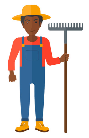 cleanliness: An african-american farmer standing with a rake vector flat design illustration isolated on white background.