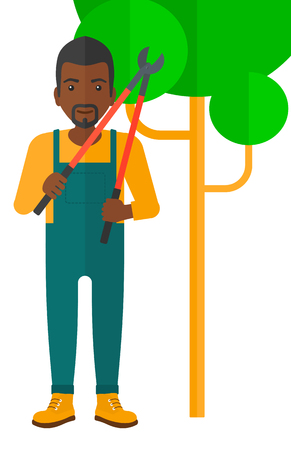 pruner: An african-american farmer holding a pruner vector flat design illustration isolated on white background.