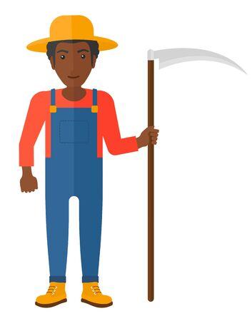 labourer: An african-american farmer holding a scythe vector flat design illustration isolated on white background.