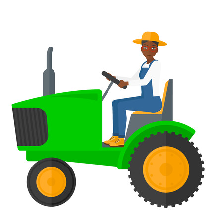 plow: An african-american farmer driving a tractor vector flat design illustration isolated on white background.