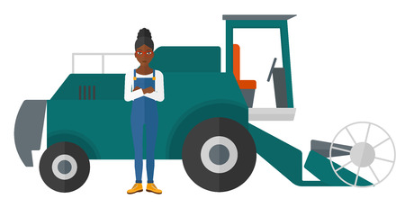 peasant woman: An african-american woman standing with a combine on a background vector flat design illustration isolated on white background.